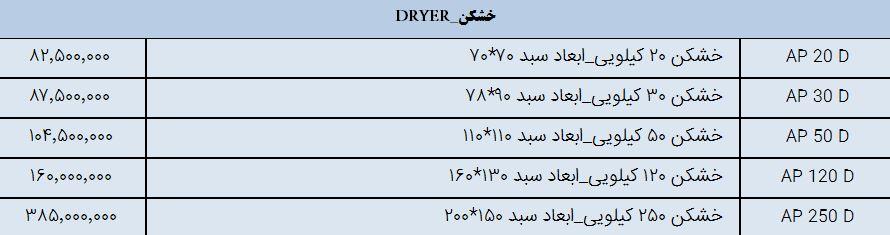 لیست قیمت خشکن صنعتی آکروپارس